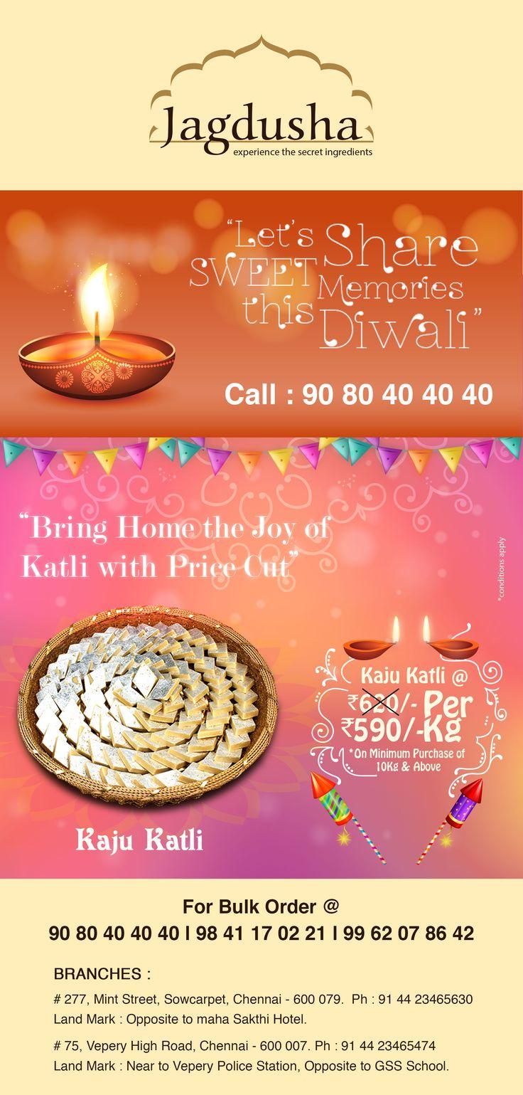 Enjoy the True taste of Kaju Katli with Jagdusha Sweets & Savories. . .It's time to taste. . .