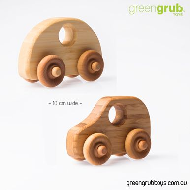 Bamboo wooden car set by Greengrub Wooden toys, Australia