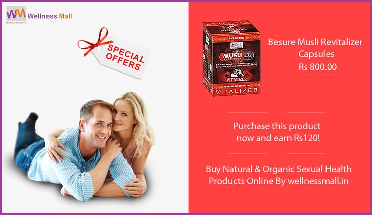 Have You Lost the Passion ? Keep your energy levels on a high with this BeSure Musli Revitalizer Capsules which are formulated to help reduce general weakness. Best Natural and Organic ‪Sexual Health‬ Products For Men and Women at Low Price in India , Here is The Stock of Pure Natural Sexual Health Products in Wellness mall  SPECIAL OFFER : Purchase this product now and earn ₹120! If You Have Any issue Related to Sexual Health , don't hesitate for this... You can Get Free Advice From Our…