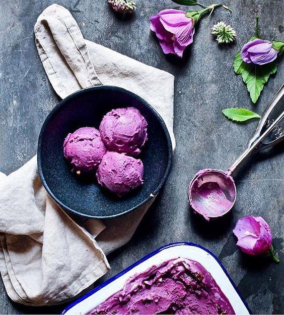 Чернично-базиликовое мороженое в домашних условиях.