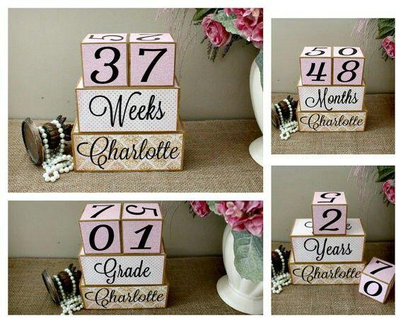 Personalized Wood Milestone Baby Blocks. Love this gift