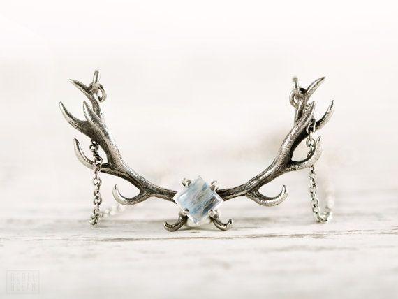 Herten gewei ketting Moonstone bedel Sterling zilveren hoorns Boho sieraden - FPE017 SS