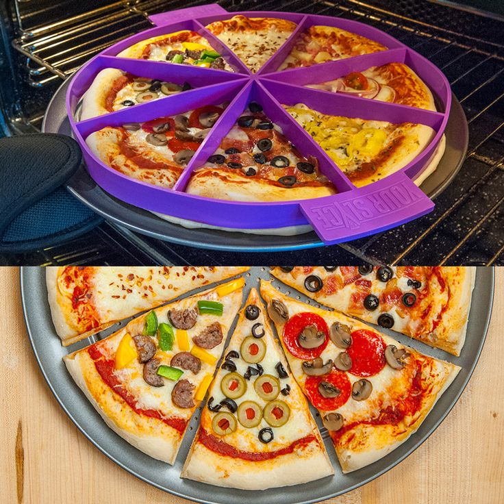 This innovative silicone pizza slice dividing ring presses down into the dough so that each individual slice can be topped with everyone's favorite custom ingredients and then baked to steaming hot golden cheese bubbling perfection without all the complaining.