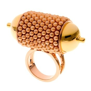 Jungle Julia Locket Ring. Inspired by North African tribal jewelry, this rose gold-and-gold ring has a hidden compartment. $380.00