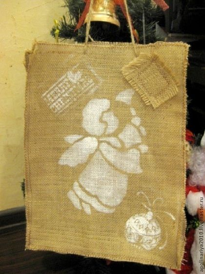 Сумка-пакет из мешковины - коричневый,сумка,пакет,джут,джутовый шпагат