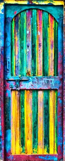 cheap and cheerful...The Doors, Rainbows Colors, Art, Painting Doors, Front Doors, Colorful Doors, Colors Doors, Old Doors, Doors Colors