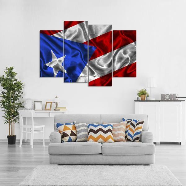 Waving Puerto Rico Flag Multi Panel Canvas Wall Art Wall Canvas Canvas Wall Art Wall Art Canvas Prints
