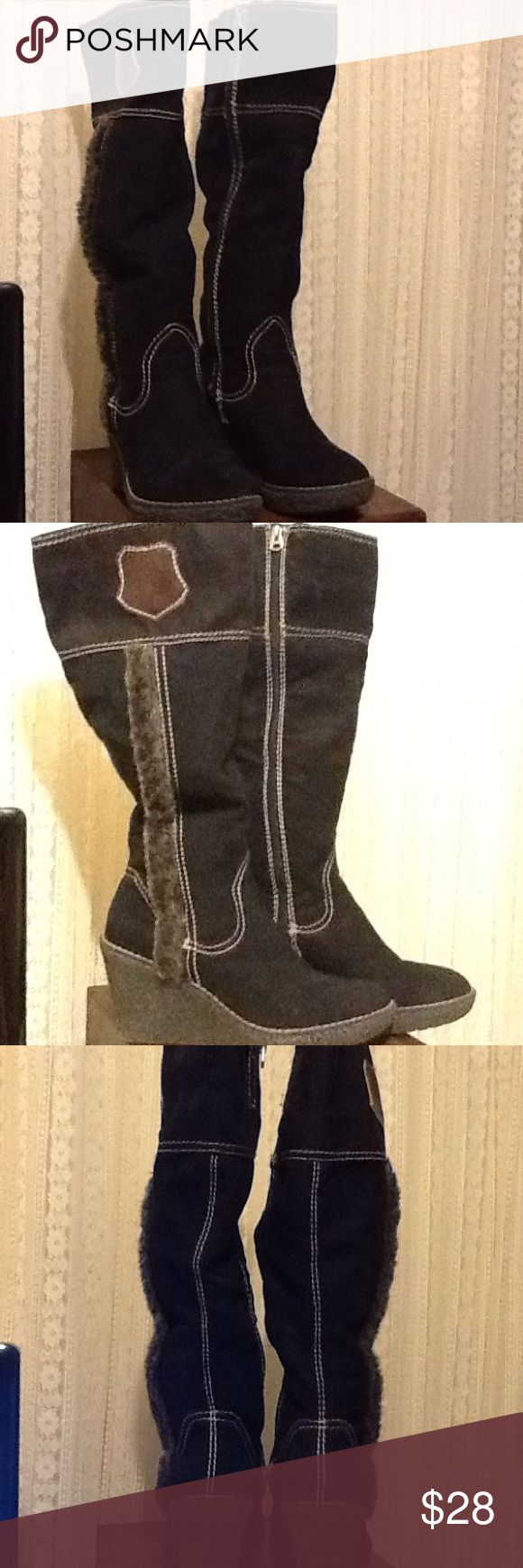 Ladies Winter Boots Wedge Black Black winter boots by Graceland. Zippers on the side. Reads Aspen Mountain Resort. Faux fur on sides. They are in very good condition. Graceland  Shoes Heeled Boots