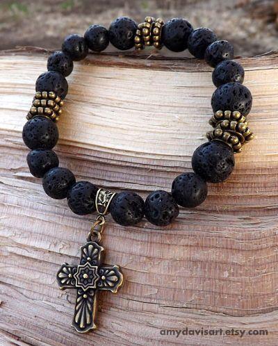 Men's Bracelet, Black Lava Rock Beads, Brass Talavera Cross, Men's Cross Bracelet, Black Beads, Christian Jewelry for Men, Father's Day by AmyDavisArt on Etsy