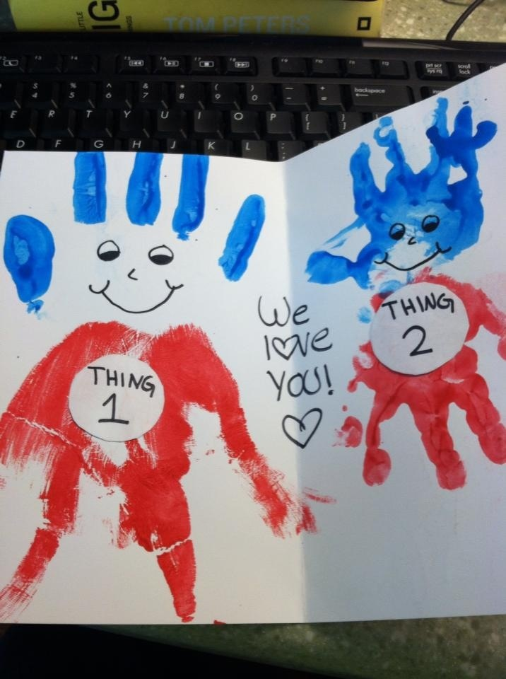 "Mom and baby homemade card. ""We love you, from thing 1 & thing 2"" I did this as a valentine card but could be for anything."