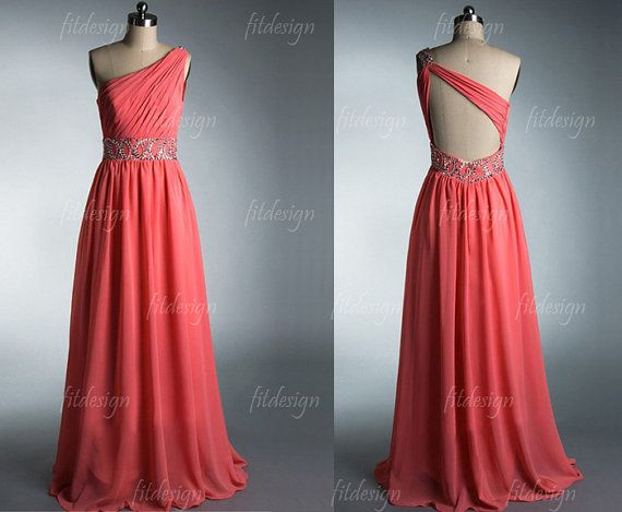 coral prom dress open back prom dress long prom dress by fitdesign, $139.00