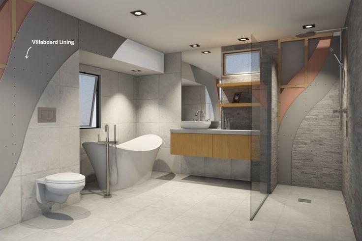 Modern, minimalist bathroom featuring Villaboard® Lining from James Hardie