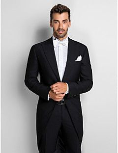 Black 100% Wool Slim Fit Two-Piece Tuxedo