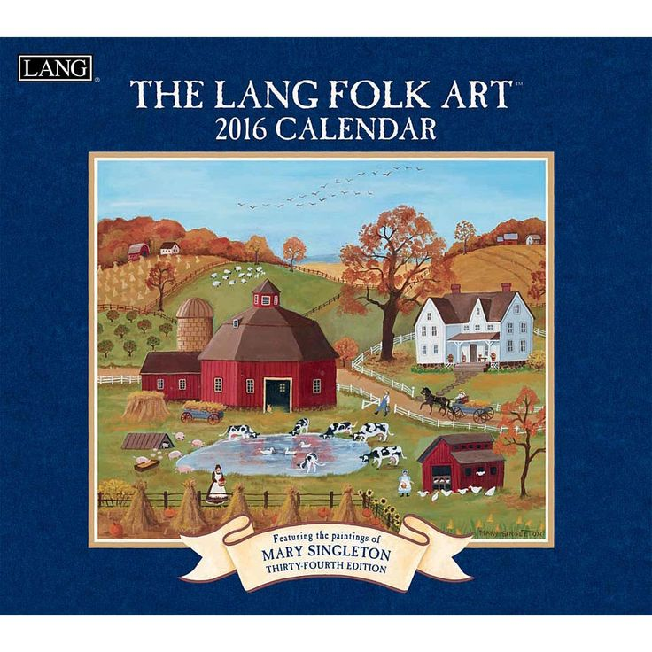"Lang Folk Art 2016 Wall Calendar | $15.99 | The calendar that embodies the Lang Brand, Mary Singleton's classic ""Lang Folk Art"" is a beautiful colonial depiction. Conjuring the simpler pleasures of yesteryear, the LANG Folk Art Wall Calendar's enchanting images celebrate a love of family and community."