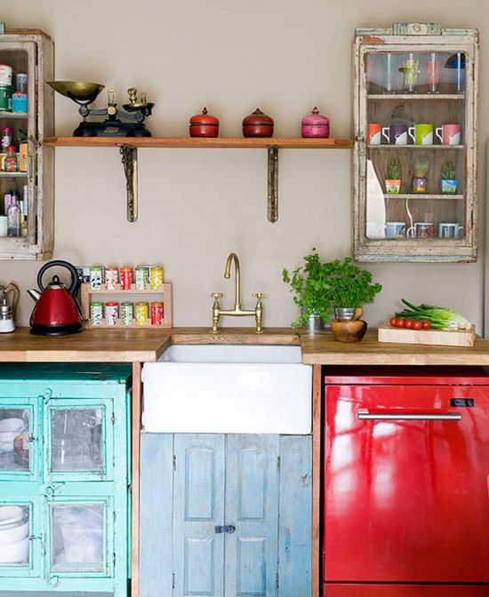 Creative and colourful kitchen