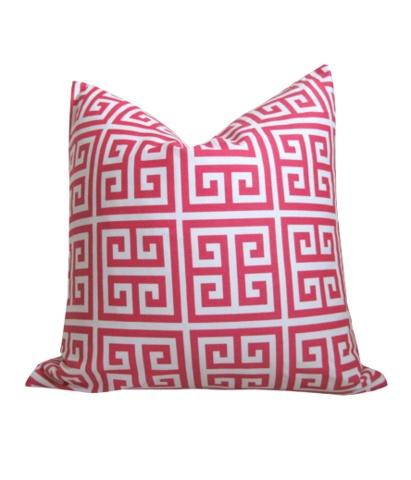 Pillows Covers, Living Room, Greek Keys, Design Darling, Pillows Pattern, Hot Pink, Pillow Covers, Throw Pillows, Keys Pillows