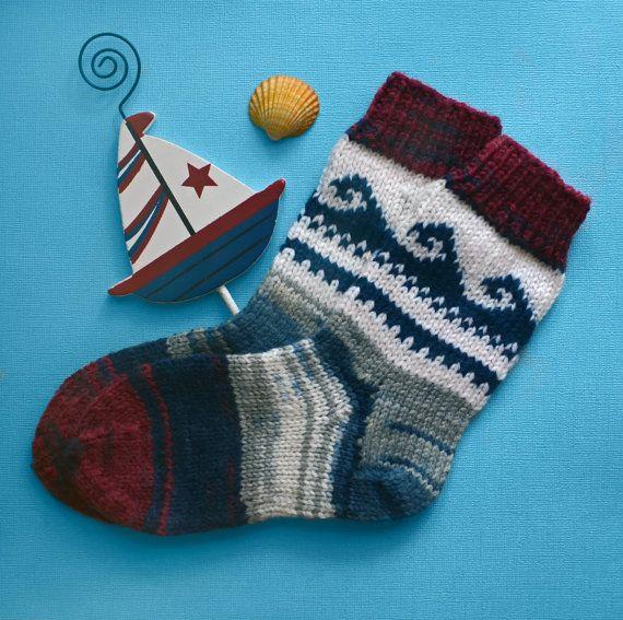Knitting socks for children marine theme/ Dappled colorful knit wool sox/warm knit  socks handmade/baby socks with a marine pattern