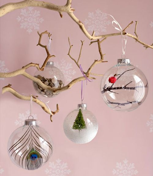 You can buy glass ornaments at a Dollar store and with some creativity make them cool and unique. You can decorate them with paper lines, polka dots, glitter. You can also put some feathers, small wooden chips, artificial snow, moss, dried pine needles,