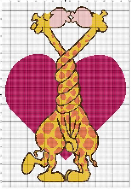 Pixel Crochet Pattern Giraffe in Love van MoWeHappy op Etsy