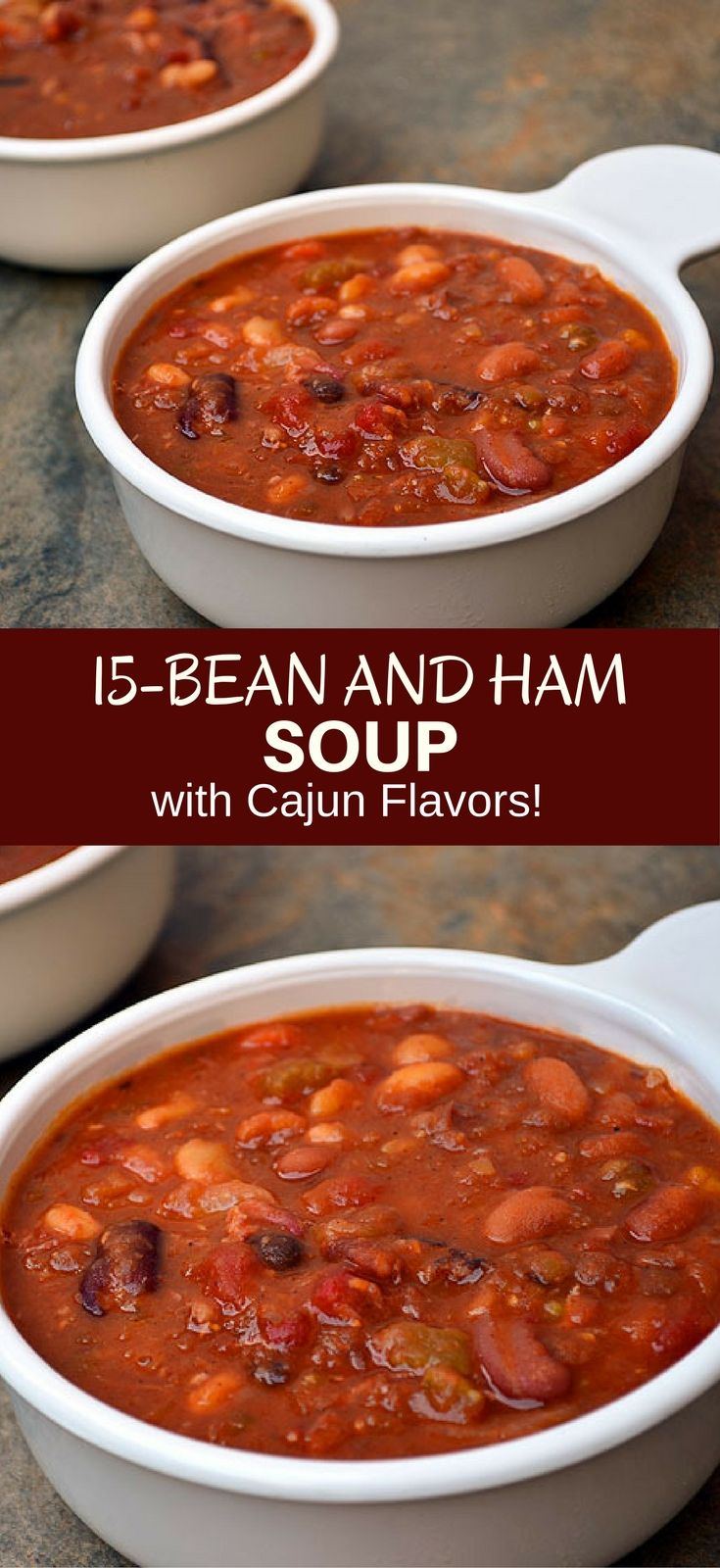 15-Bean Soup with Ham with assorted beans, ham, tomatoes, and Cajun spices for the ultimate cold weather comfort food. It's thick, hearty, delicious and the perfect use for your leftover ham! #beans #beansoup #ham #soup