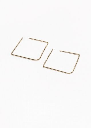 & Other Stories | Square Pin Earrings minimal earring in gold