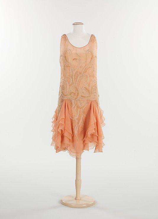 Dress, Evening    Date:      1926–28  Culture:      French  Medium:      silk, metal, rhinestones1920 S, Flappers Dresses, Evening Dresses, Vintage Fashion, 1920S Fashion, Roaring 20S, 1926 28, 1920S Dresses, Metropolitan Museums