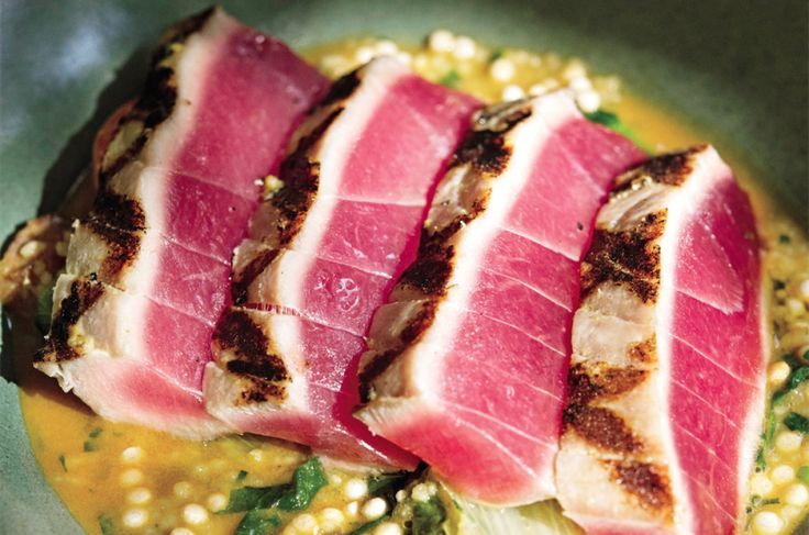 Big Eye Tuna with Israeli Couscous Ragu