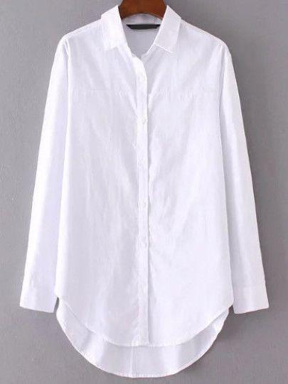 White Button Up Dip Hem Blouse