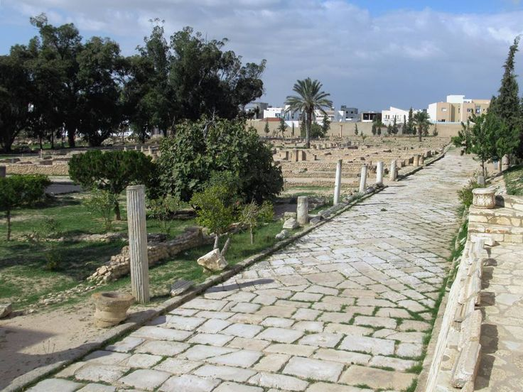 The ruins of Roman villas are adjacent to the Archaeological Museum in El Djem, Tunisia.