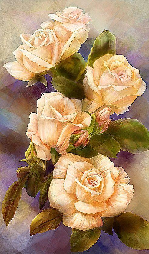Схема вышивки «Лососёвые розы» - Вышивка крестом