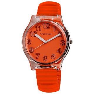 Vernier Women's Orange Stretch Silicone Watch/ Pouch Set
