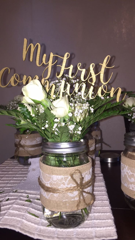DIY first communion centerpieces