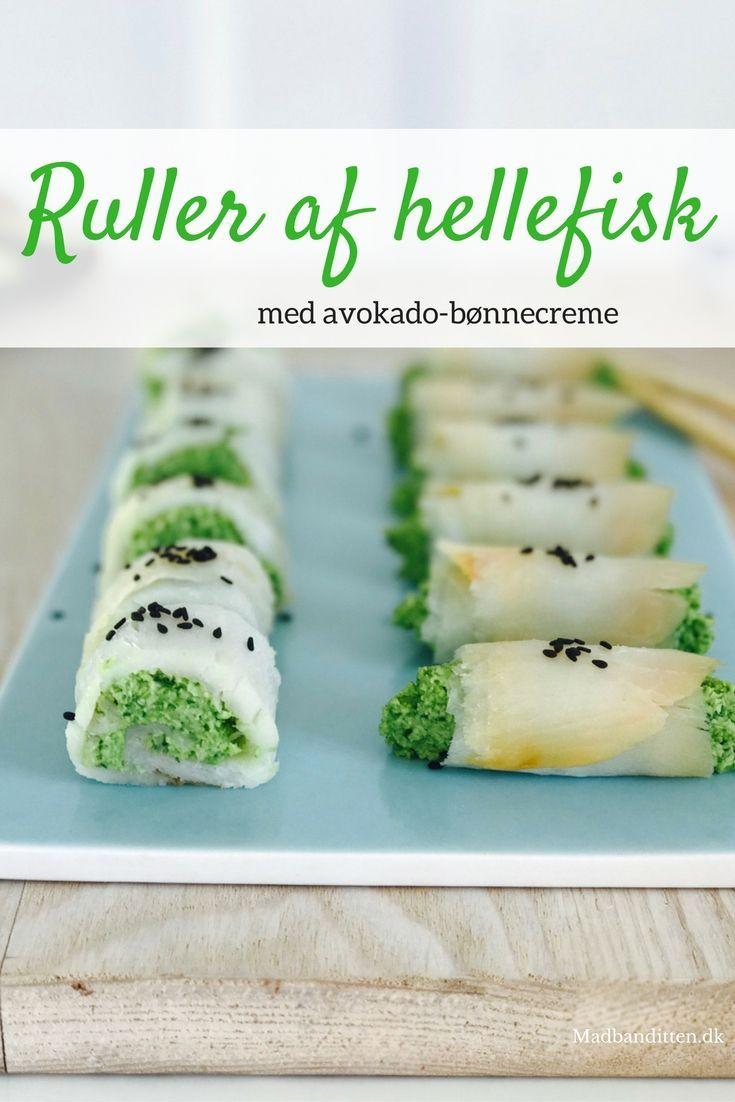 Ruller af hellefisk med avokado-bønnecreme - server som en lækker appetizer eller sammen med en stor grøn salat - low carb/LCHF opskrift