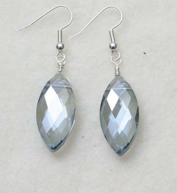 Ocean Blue Teardrop Crystal Earrings by BeccsCreations on Etsy, $12.00
