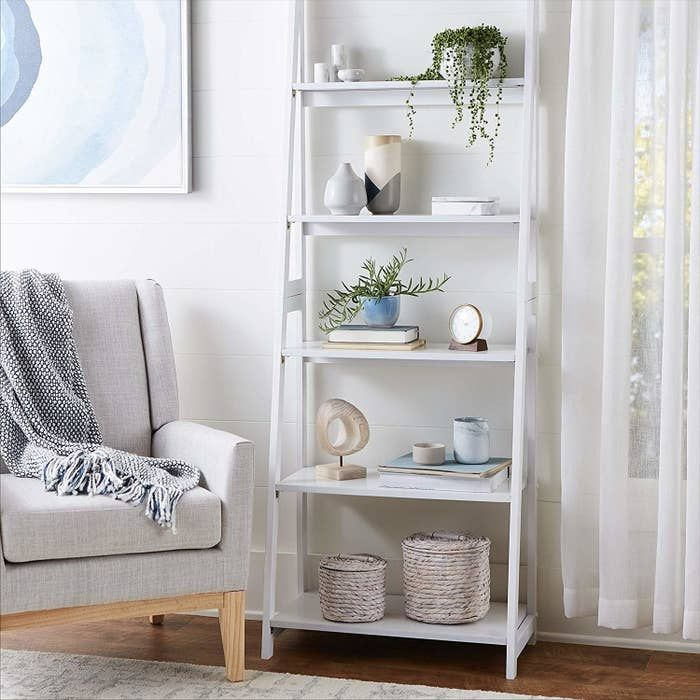 30 Stylish Things For Your Home You Can Only Get On Amazon Shelf Decor Living Room Ladder Shelf Decor White Bookshelf Decor