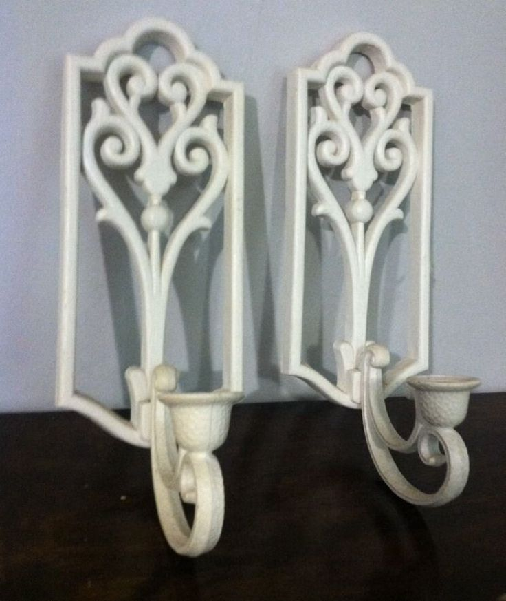 Set Of 2 Homco Candle Holders Wall Decor Sconces Plastic