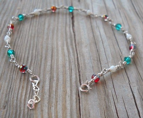 Handmade 925 Sterling Silver Colorful Anklet 23.5-25.5 cm long | pavlos - Jewelry on ArtFire