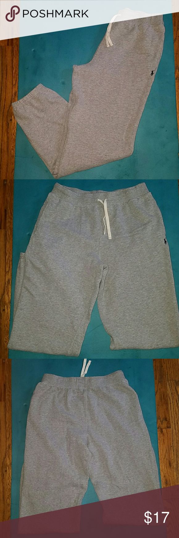 Boys Ralph Lauren Gray Polo Sweatpants Size XL These are practically brand new boys Ralph Lauren Gray Polo Sweatpants Size XL (18-20) worn twice. The pants have the navy blue Polo horse on the left leg as well as a drawstring in the waist. Ralph Lauren Bottoms Sweatpants & Joggers