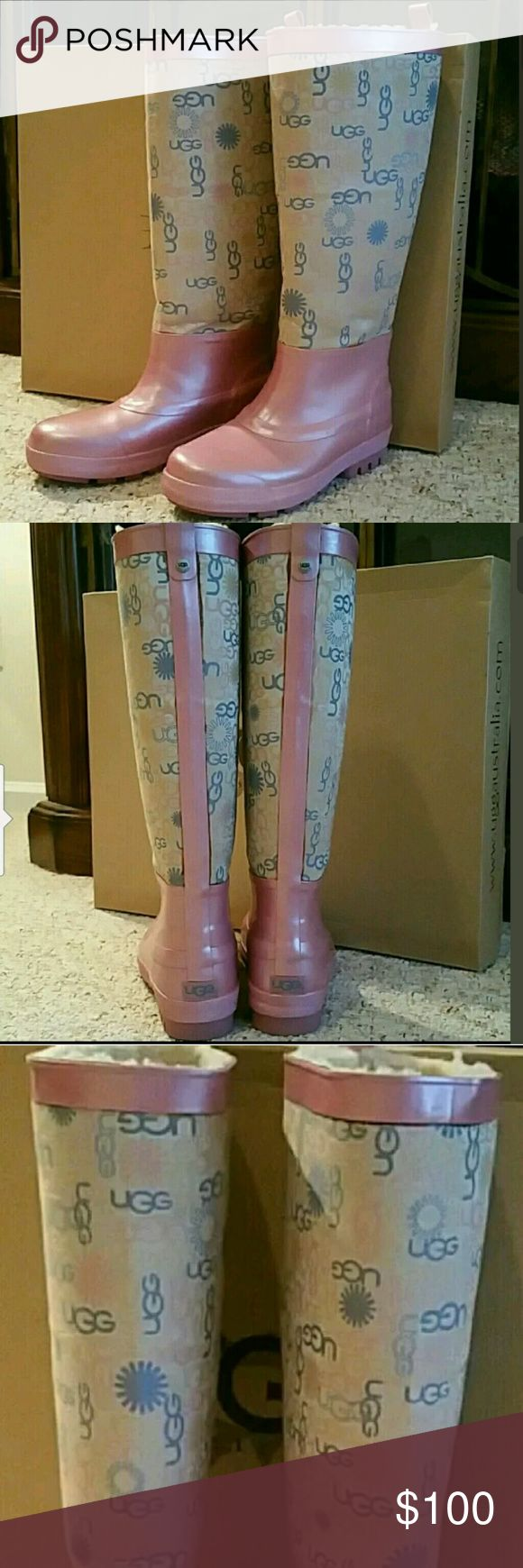 UGG Wallingford Pink Tan Rainboots Size 6 UGG Wallingford Pink Rainboots Size 6   A Wellington inspired rain boot that is fully lined in quality genuine sheepskin. The molded rubber outsole provides traction while braving the elements. This first ever sheepskin-lined rain boot will keep you warm and dry.   Pink and Beige in color  UGG signature logo pattern  Waterproof  100 % Authentic  NEW in box UGG Shoes Winter & Rain Boots