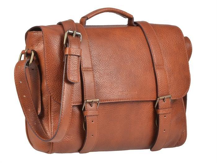 Aktentasche Leder mit 1 Fach Damen Herren Businesstasche Umhängetasche Tasche Schultasche SOFT cognac braun