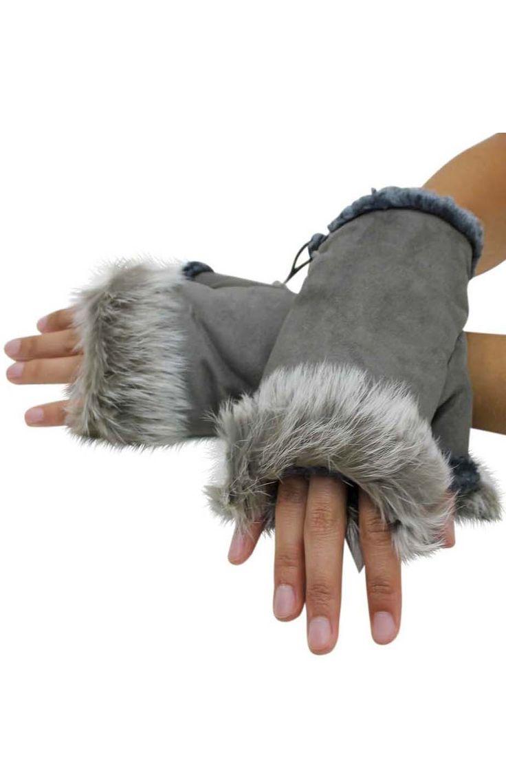 Fingerless Gloves With Rabbit Fur Trim