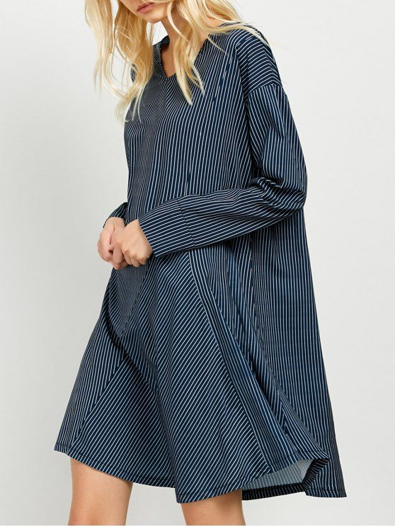 Striped Long Sleeve Tunic Dress - Blue And White S #Shoproads #onlineshopping #Dresses