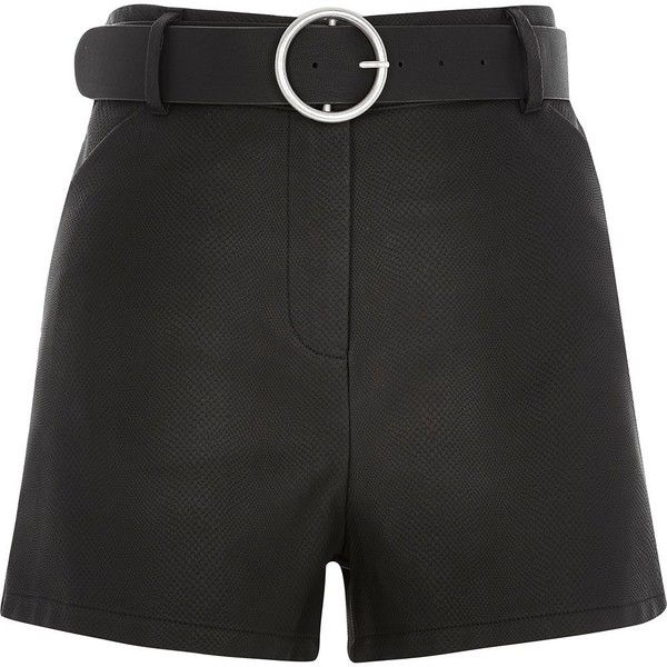 River Island Black leather-look belted high waisted shorts ($64) ❤ liked on Polyvore featuring shorts, river island, black, smart shorts, women, faux-leather shorts, vegan leather shorts, black shorts, belted shorts and summer shorts