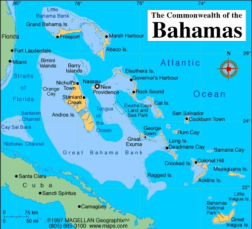 Map of Bahamas Capital Nassau Languages English official – Nassau Tourist Map