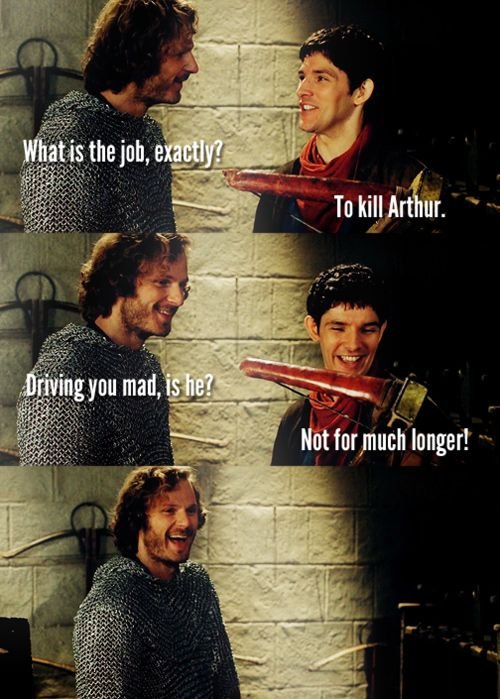 What I really love is that Leon doesn't think Merlin is telling the truth. He knows that Merlin loves Arthur too much to ever try to kill him of his own accord, but also hates him enough to make jokes about the kings murder (which could be seen as treason)