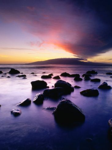 Sunset Over the Island of Lanai Viewed from West Maui, Lanai, Hawaii, USA Photographic Print by Karl Lehmann at Art.com