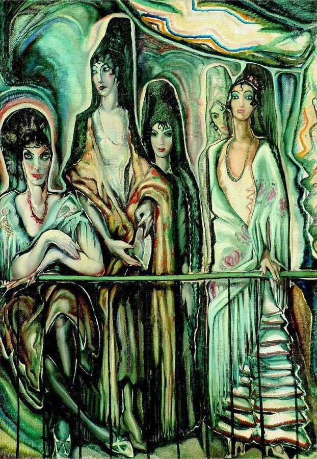 Gyula Batthyány (Hungarian,1887 - 1959) Spanish Women on the Balcony, c.1934