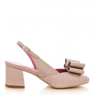 pantofi dama din piele naturala 1607 croco cu lac nude