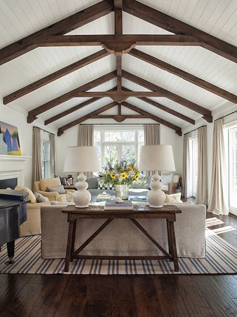 Living room decor pinterest vaulted ceilings for Vaulted ceiling exposed beams