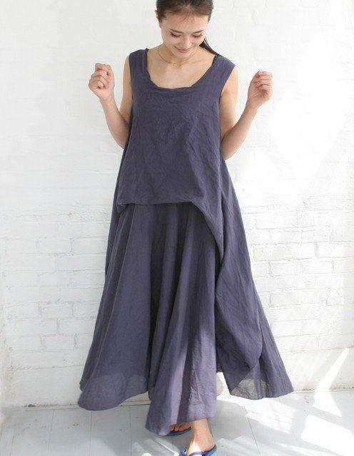 Womens clothing linen dresses long dresses ladies dresses for Long linen shirts for womens